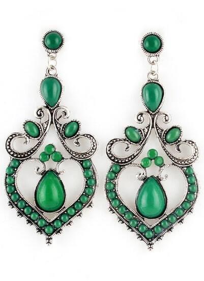 Green Gemstone Retro Silver Earrings
