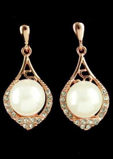 Gold Pearls Drop Earrings