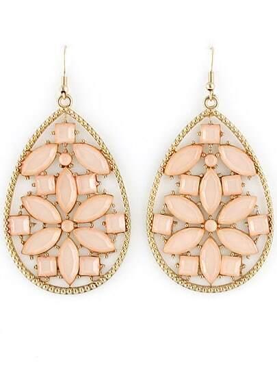 Pink Gemstone Gold Hollow Drop Earrings