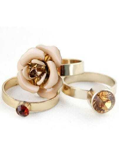 Yellow Gemstone Three Gold Flower Ring
