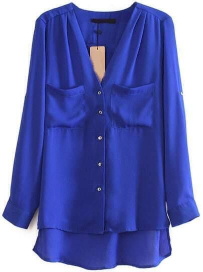 Blusa dobladillo curvo bolsillos manga larga-Azul