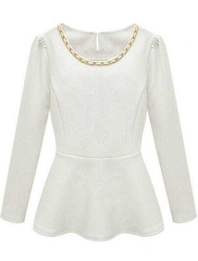 White Long Sleeve Ruffle Chain Embellished Blouse