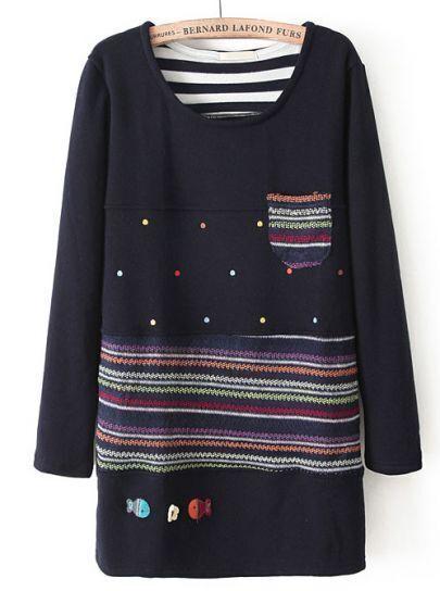 Navy Long Sleeve Fish Embroidered Polka Dot T-Shirt