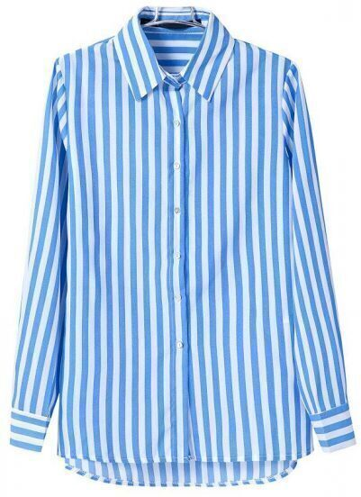 Blue White Vertical Stripe Lapel Chiffon Blouse