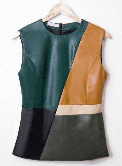 Green Contrast Yellow Sleeveless PU Leather Blouse