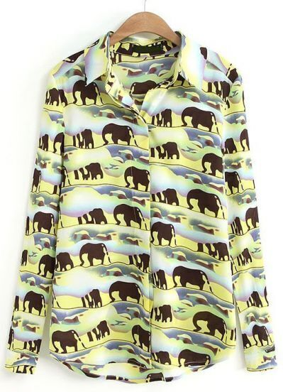 Yellow Lapel Long Sleeve Elephants Print Blouse