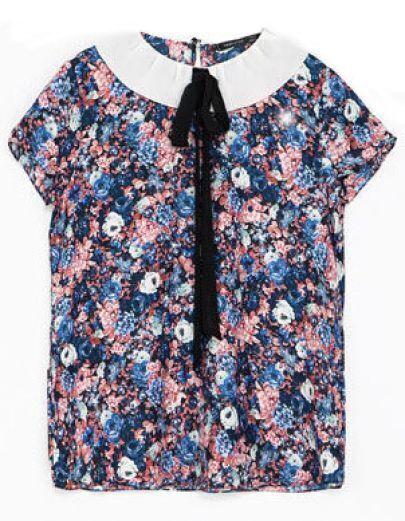 Blue Lapel Short Sleeve Floral Blouse