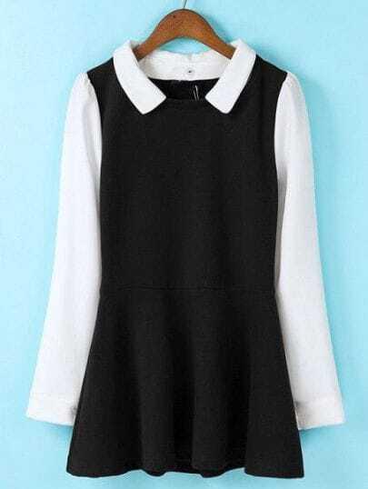 Black Contrast Long Sleeve Ruffle Blouse