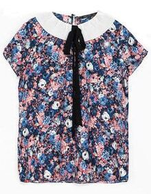 Blue Lapel Short Sleeve Floral Blouse