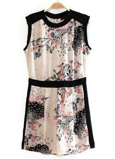 Apricot Sleeveless Contrast Trims Ink Floral Dress