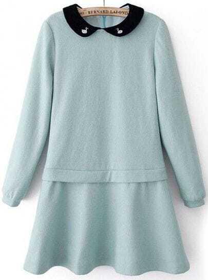 Blue Contrast Lapel Long Sleeve Ruffle Dress