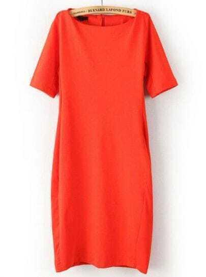 Orange Round Neck Short Sleeve Bodycon Dress