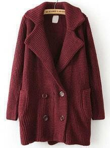 Wine Red Lapel Long Sleeve Pockets Coat