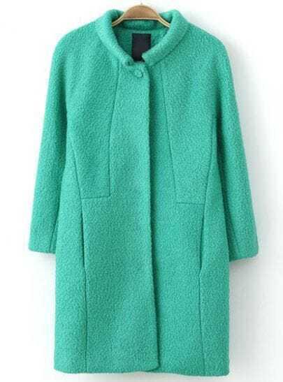 Green Lapel Long Sleeve Loose Woolen Coat