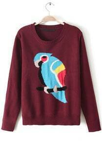 Wine Red Long Sleeve Parrot Embroidered Sweater