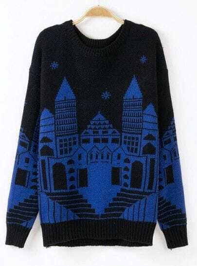 Black Long Sleeve Blue Castle Print Sweater