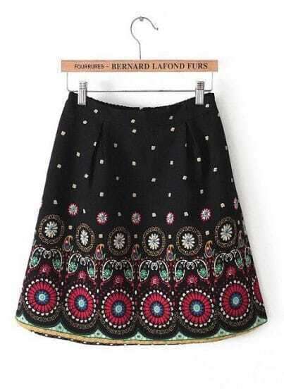 Black Vintage Tribal Print Skirt