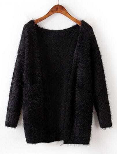 Black Long Sleeve Pockets Mohair Cardigan