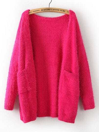 Rose Red Long Sleeve Pockets Mohair Cardigan