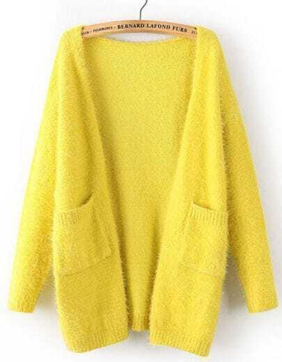 Yellow Long Sleeve Pockets Mohair Cardigan