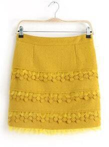 Yellow Cascading Lace Woolen Skirt