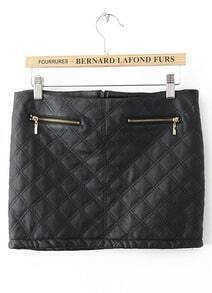 Black Diamond Patterned Zipper PU Leather Skirt