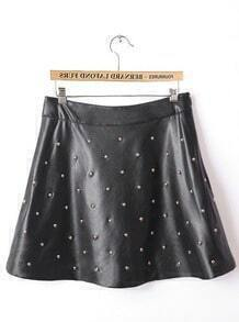 Black Ruffle Rivet PU Leather Skirt