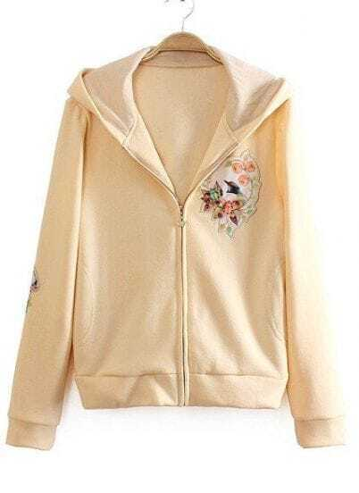Yellow Hooded Long Sleeve Floral Sweatshirt