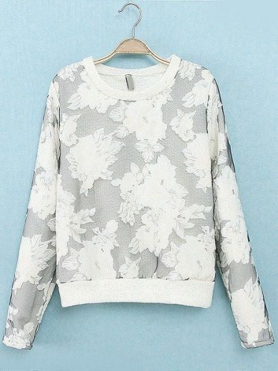 White Long Sleeve Floral Loose Sweatshirt