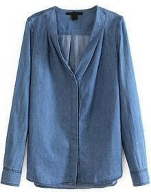 Blue V Neck Long Sleeve Loose Denim Blouse