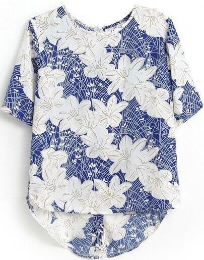 Blue White Short Sleeve Floral Dipped Hem Blouse