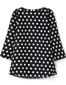 Black Half Sleeve Polka Dot Blouse