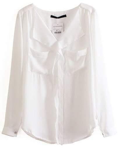 White Long Sleeve Pockets Chiffon Blouse