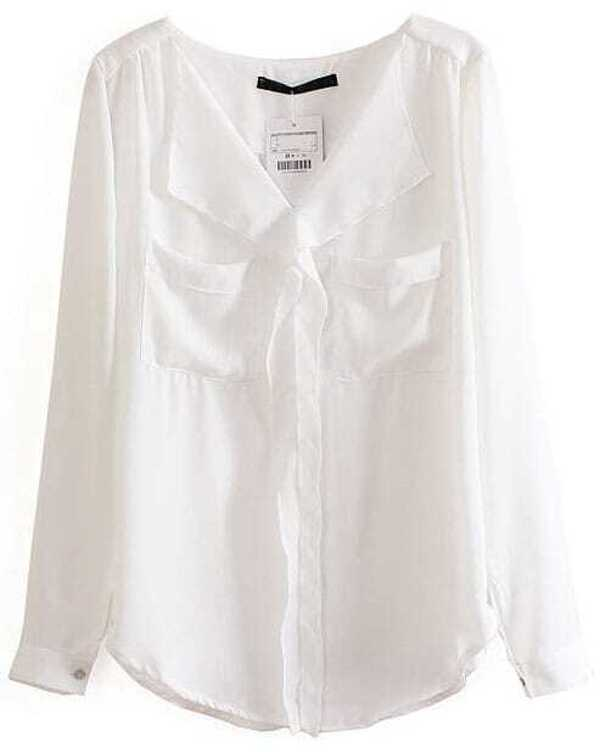 White Long Sleeve Pockets Chiffon Blouse -SheIn(Sheinside)