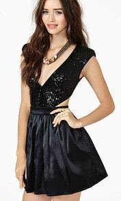 Black Sleeveless Sequined Cut Out Dress