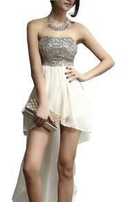 Beige Strapless Sequined Asymmetrical Dress