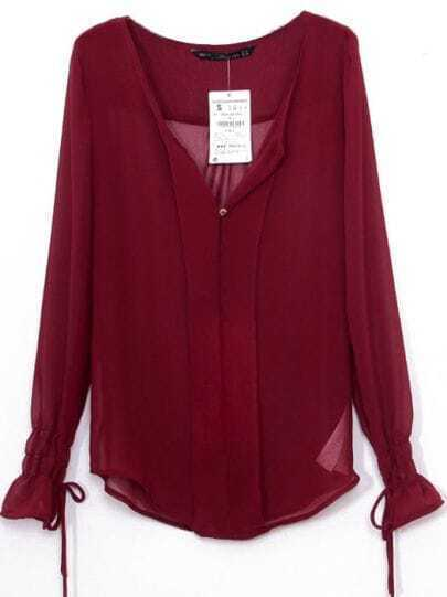 Dark Red V-neck Bandeau Embellished Elastic Cuffs Chiffon Blouse