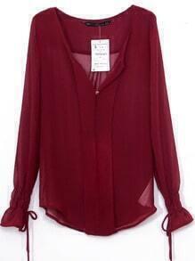 Dark Red V-neck Bandeau Embellished Elastic Cuffs Chiffon Blouse