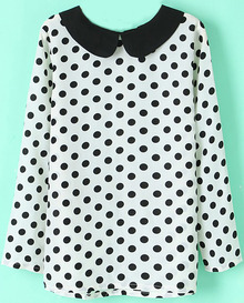 White Contrast Collar Polka Dot Chiffon Blouse