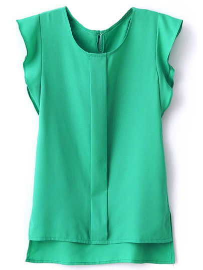 Puff Sleeve Split Chiffon Blouse