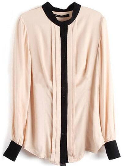 Apricot Long Sleeve Contrast Trims Pleated Blouse