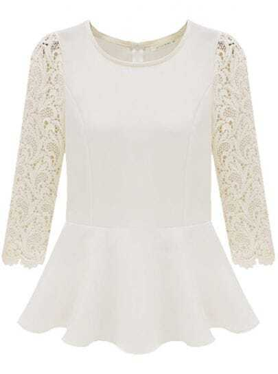 Beige Contrast Lace Long Sleeve Pleated Blouse