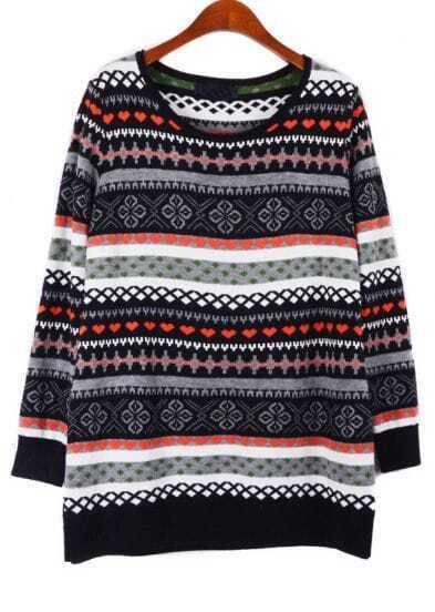 Black Red Long Sleeve Snowflake Tribal Pattern Sweater