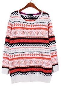 White Long Sleeve Snowflake Tribal Pattern Sweater