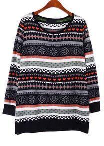 Black Red Long Sleeve Snowflake Tribal Pattern Sweater