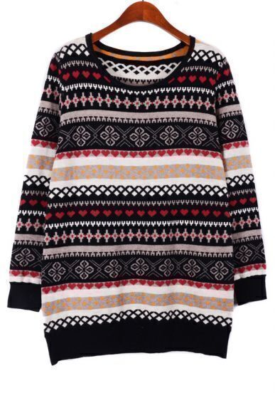 Black Yellow Long Sleeve Snowflake Tribal Pattern Sweater
