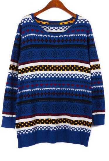 Blue Long Sleeve Snowflake Tribal Pattern Sweater