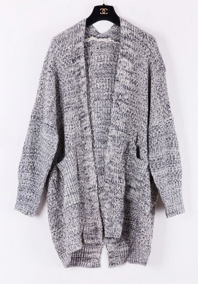 Grey Long Sleeve Pockets Oversized Cardigan Sweater