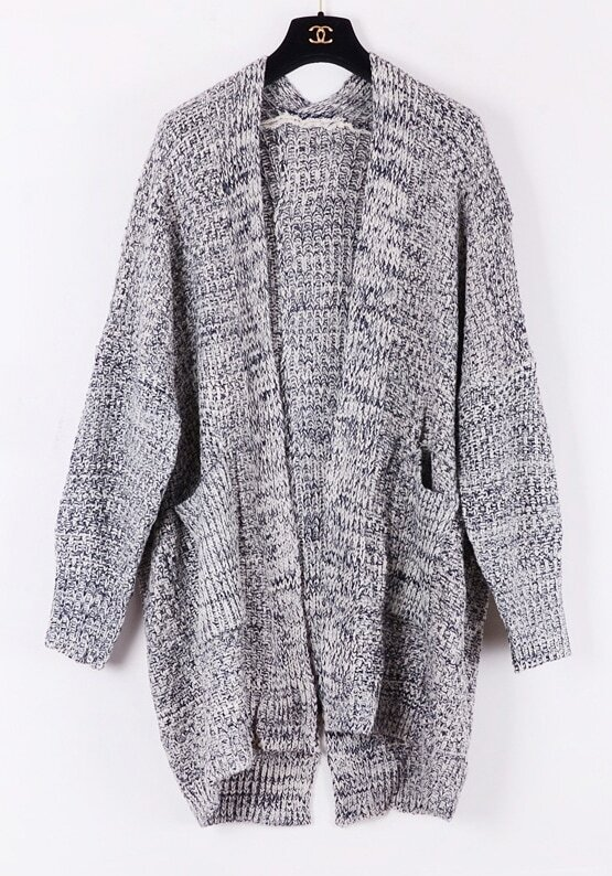 Grey Long Sleeve Pockets Oversized Cardigan Sweater -SheIn(Sheinside)