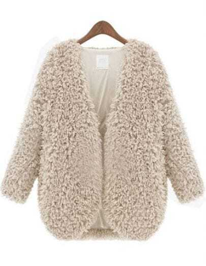 Apricot V Neck Long Sleeve Fluffy Crop Coat